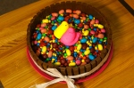Easter cake with mandms and peeps