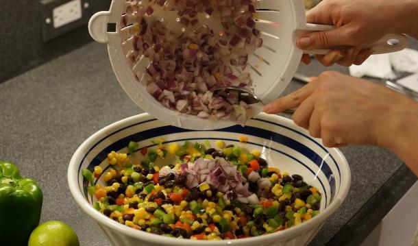 add onions to bean dip