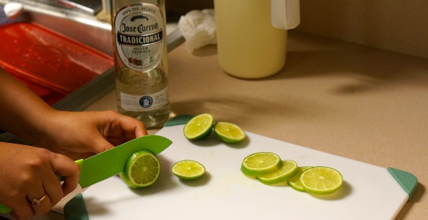 cutting limes for frozen margaritas