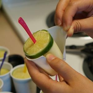 making margarita popsicles