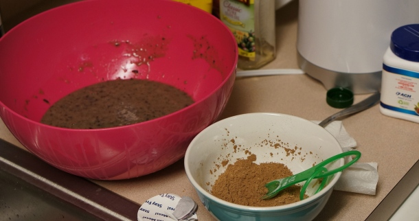 Cocoa powder and black bean batter
