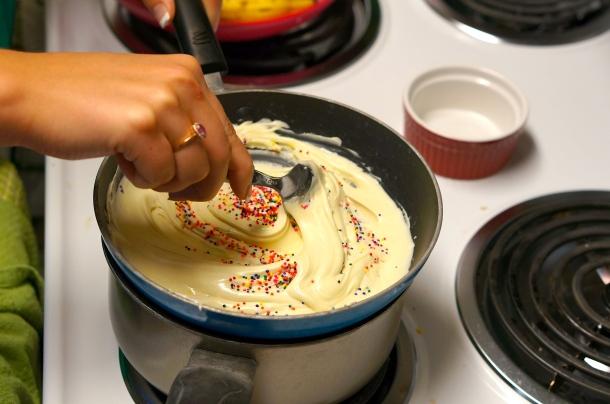 mix in sprinkles for popcorn